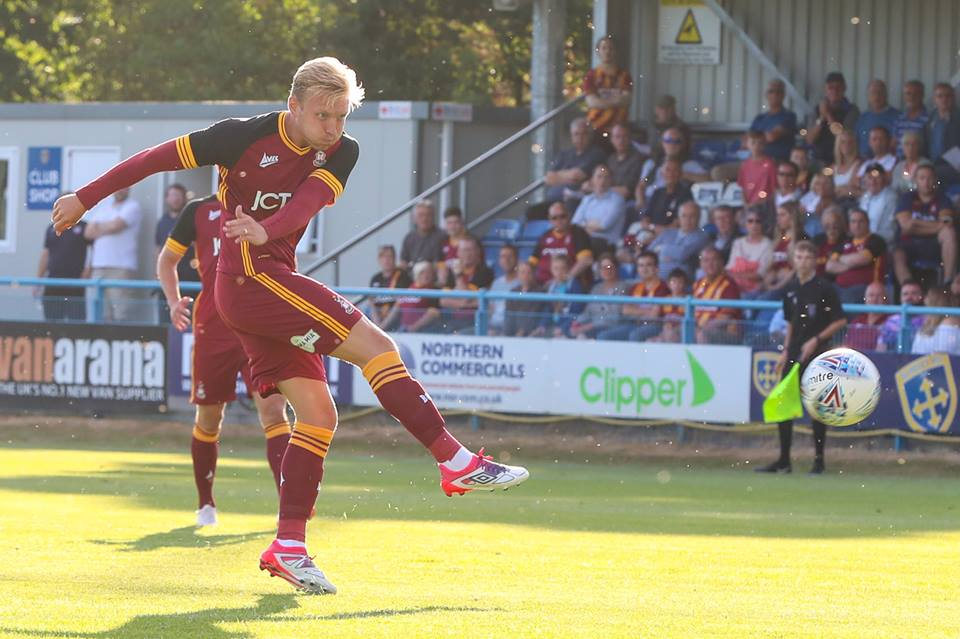 Josh Wright hit the bar from 25 yards for City. Pic: Thomas Gadd