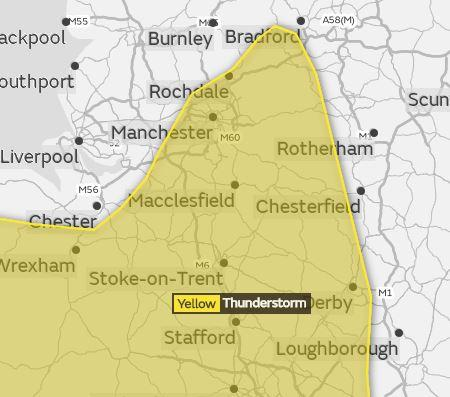 Weather warning issued for thunderstorms bradford telegraph and argus the met office has issued a weather warning for thunderstorms picture met office publicscrutiny Images