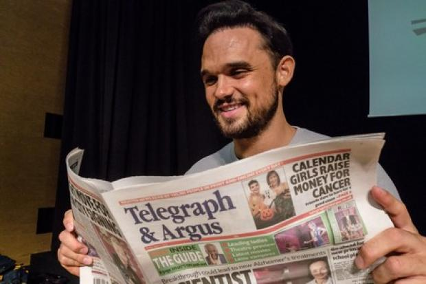 Bradford-born star Gareth Gates reads his favourite newspaper