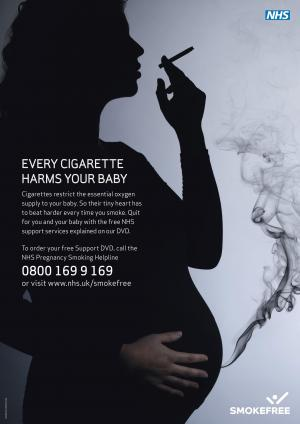 One of the posters in the new campaign to persuade pregnant women to stop smoking