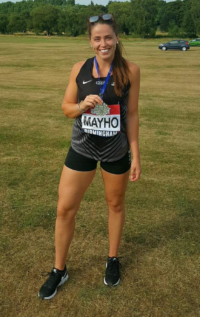 Jessica Mayho with her British Senior Athletics Championships silver medal