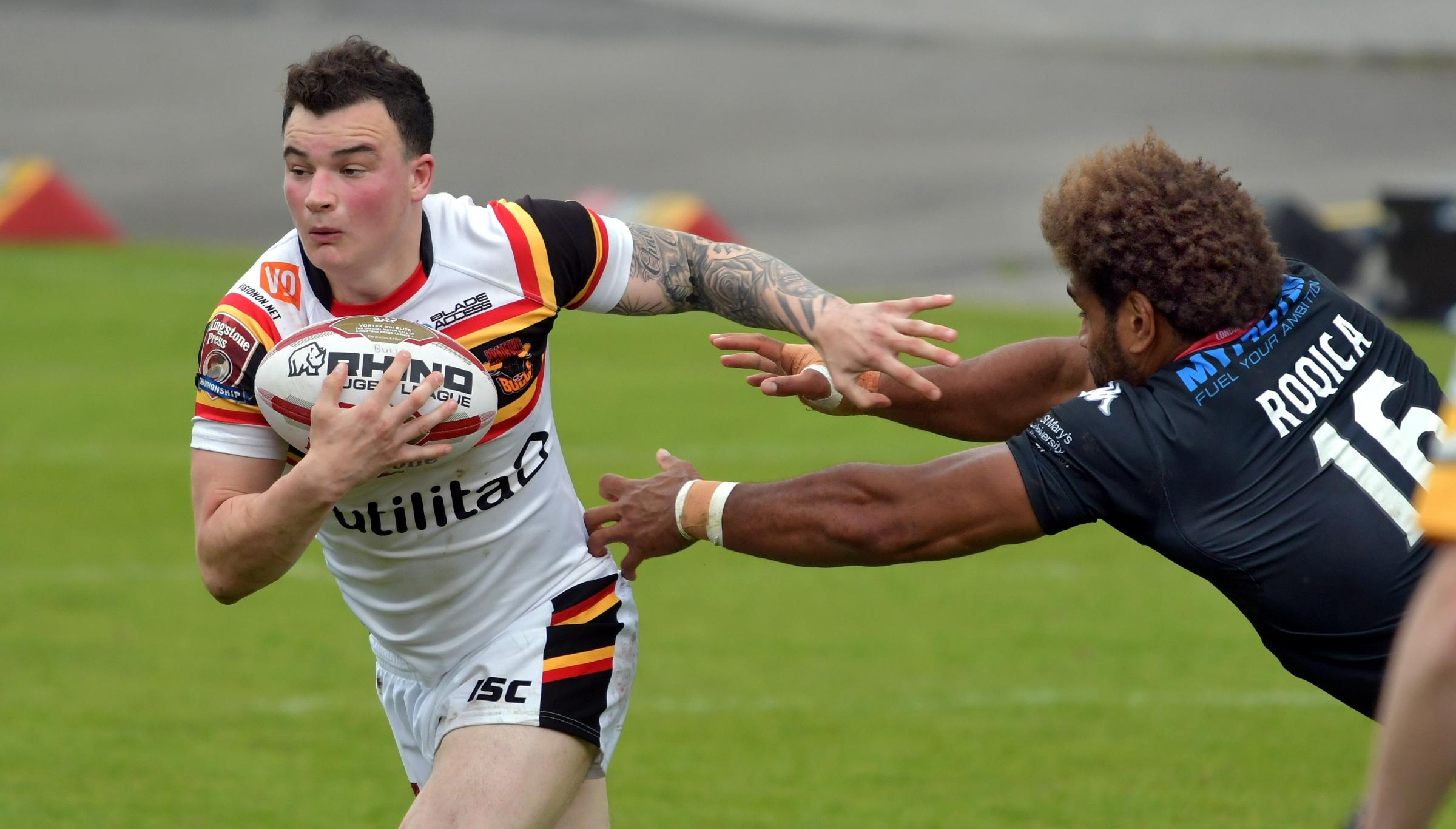 Jordan Lilley in action against London during the Bulls' troubled 2017 Championship campaign