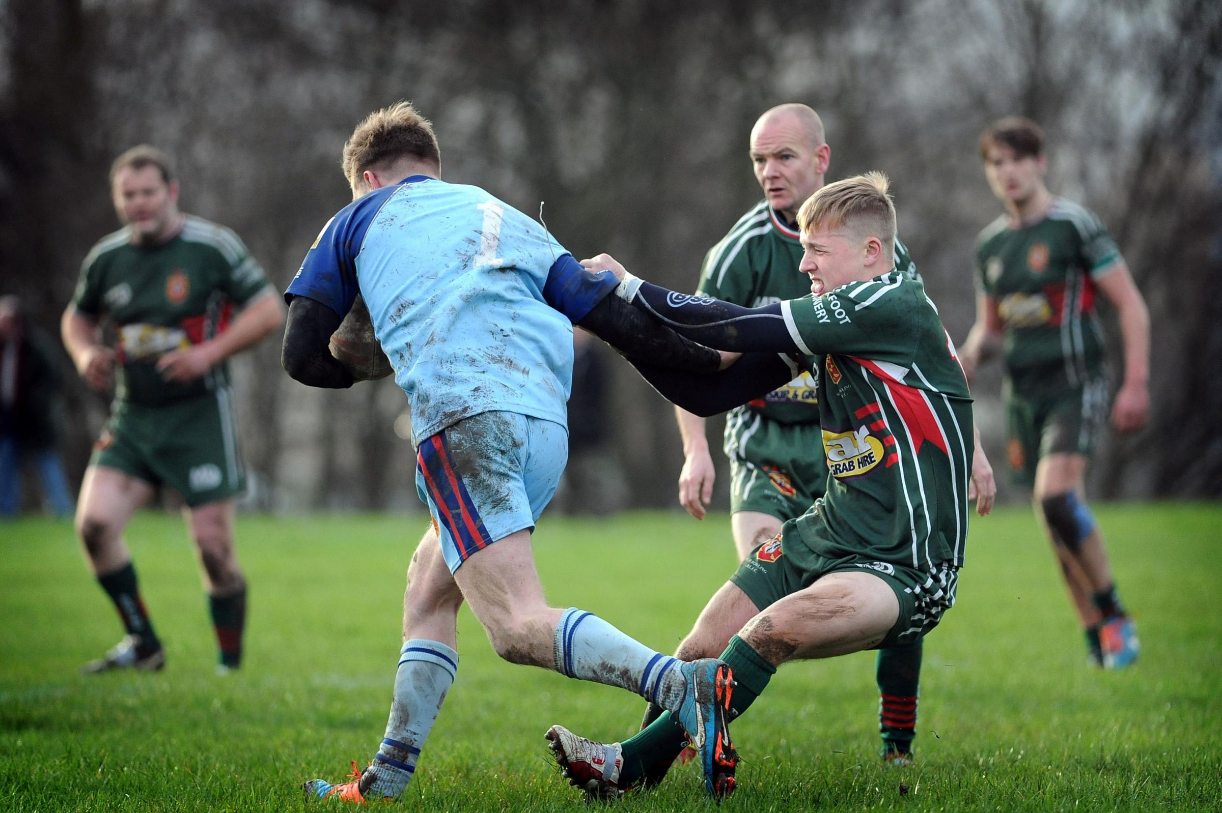 Chris Watson, right, got the killer try for West Bowling last weekend at Drighlington