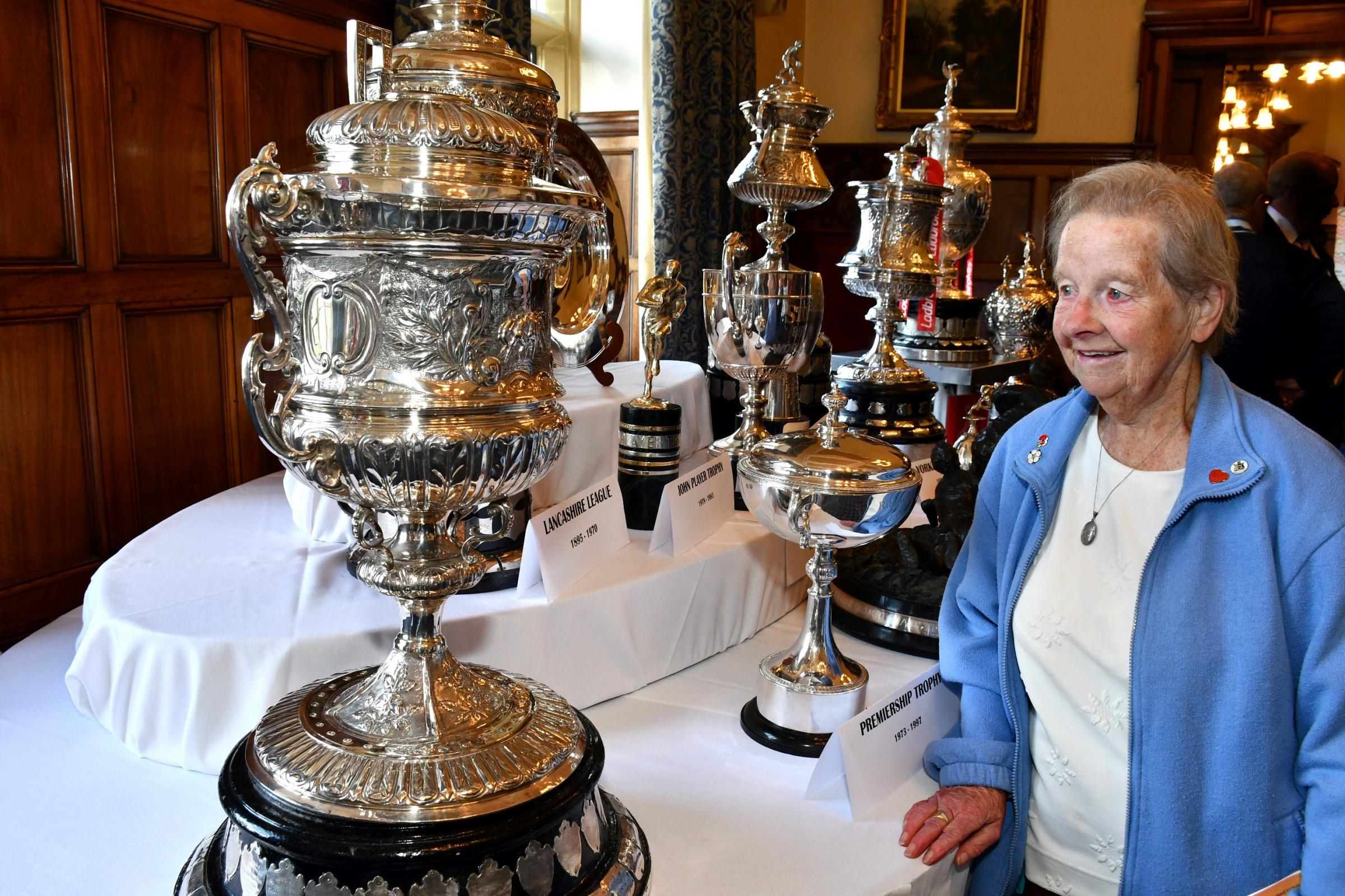 Bradford Northern and Bulls fan Betty Hall, aged 88, views the famous rugby league trophies on show at Bradford City Hall