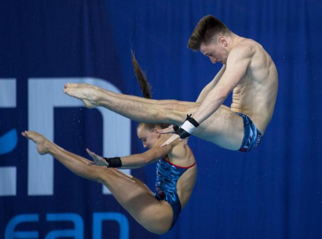 Great Britain's Lee Matthew and Lois Toulson compete in the Synchronised 10m Platform Diving during day ten of the 2018 European Championships  Picture: Ian Rutherford/PA Wir