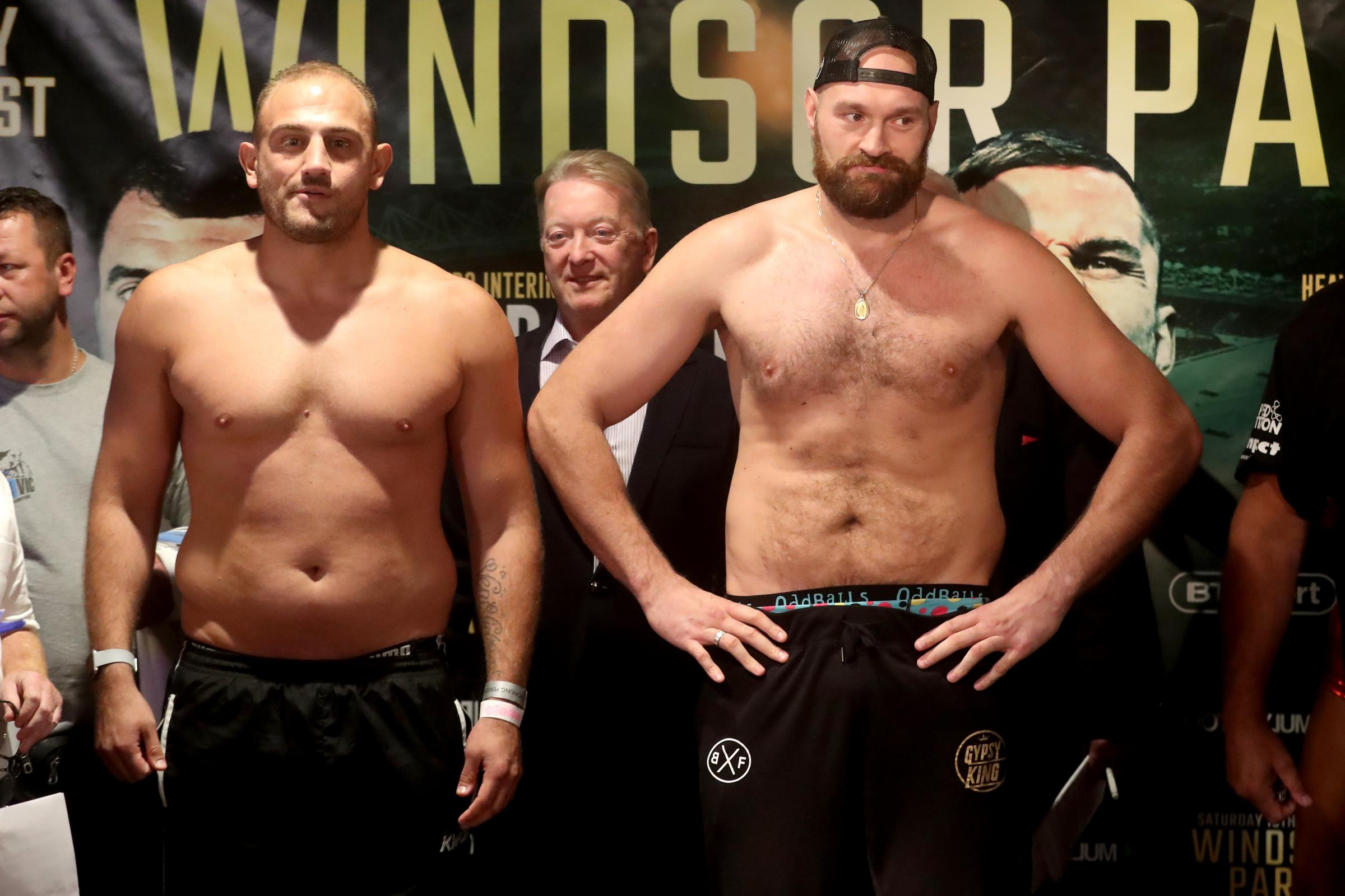 Tyson Fury, in a baseball cap, must tackle Francesco Pianeta before facing Deontay Wilder