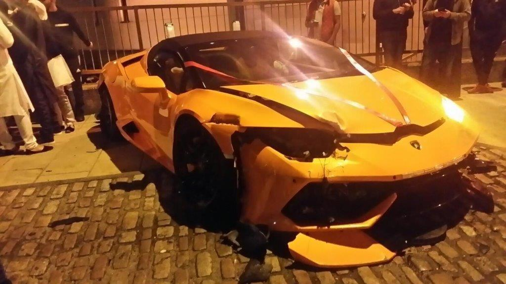 Lamborghini Smashed Up After Crash In Bradford City Centre
