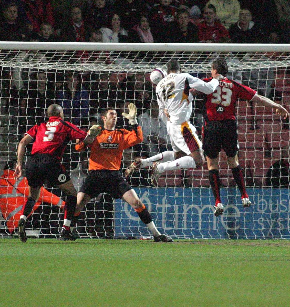 Defender Matt Clarke scores his first goal for City to draw them level at 1-1 during tonight's clash at Dean Court