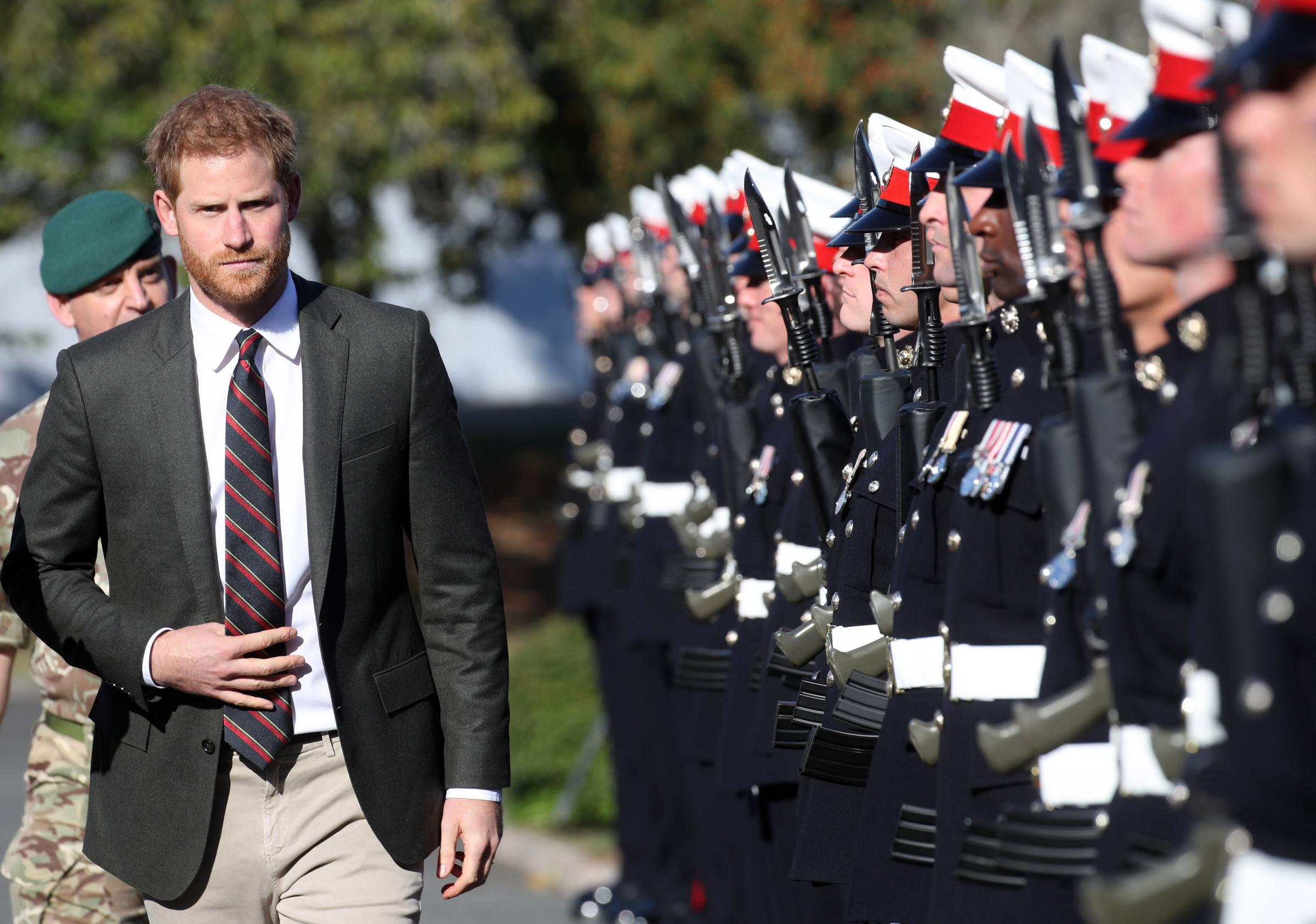 The Duke of Sussex during a visit to the Royal Marines Commando Training Centre in Lympstone, Devon. PRESS ASSOCIATION Photo. Picture date: Thursday September 13, 2018. The Duke met with new recruits undergoing training as well as the Invi