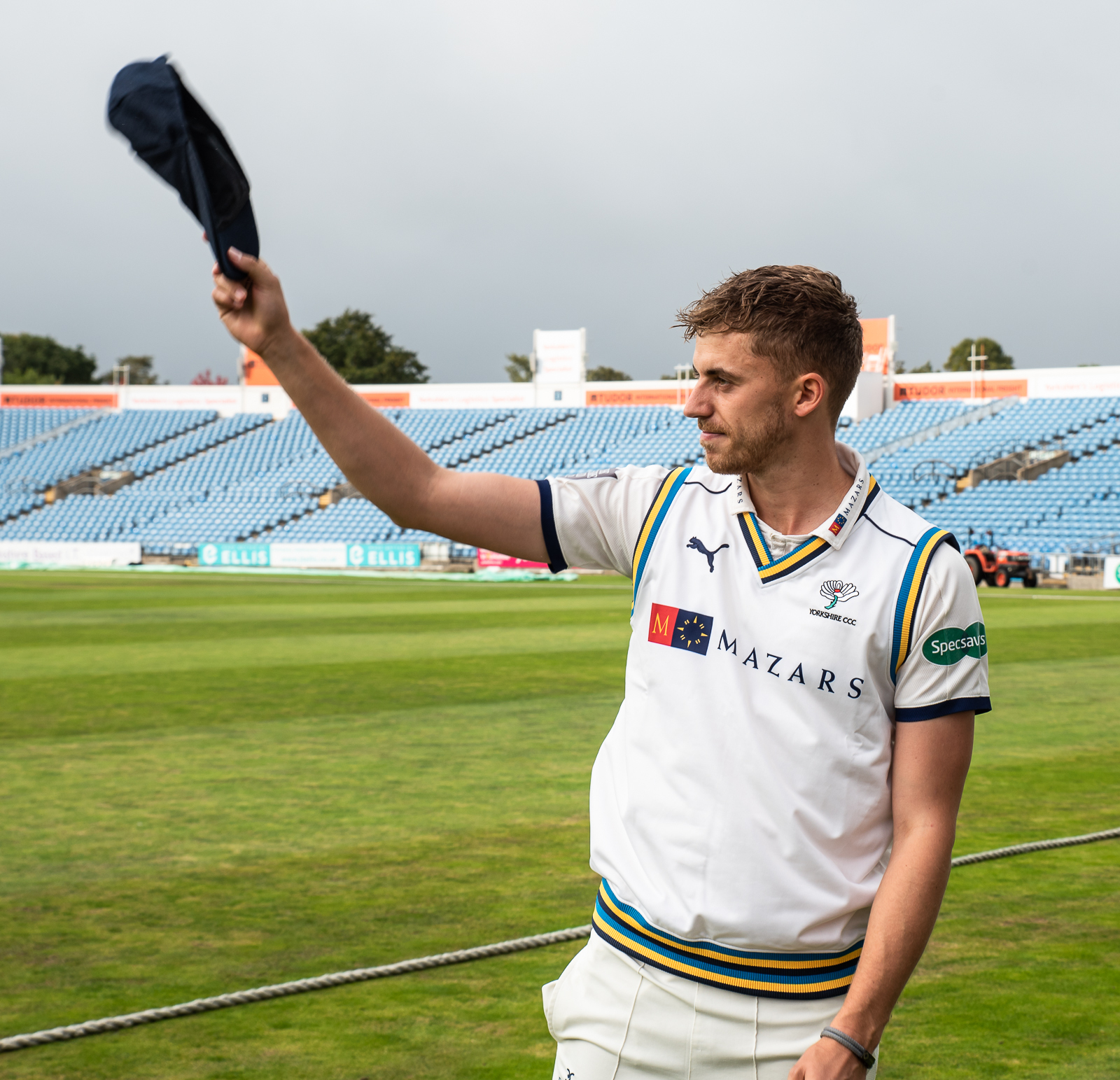 Ben Coad shows off his county cap after being presented with it before the match against Hampshire Picture: Ray Spencer