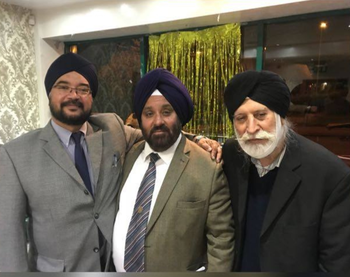 Left named: Treasurer Dalbir Singh Kundi Middle: Nirmal Singh Sekhon MBE FRSA Right: Hardev Singh Sidhu General Secretary.