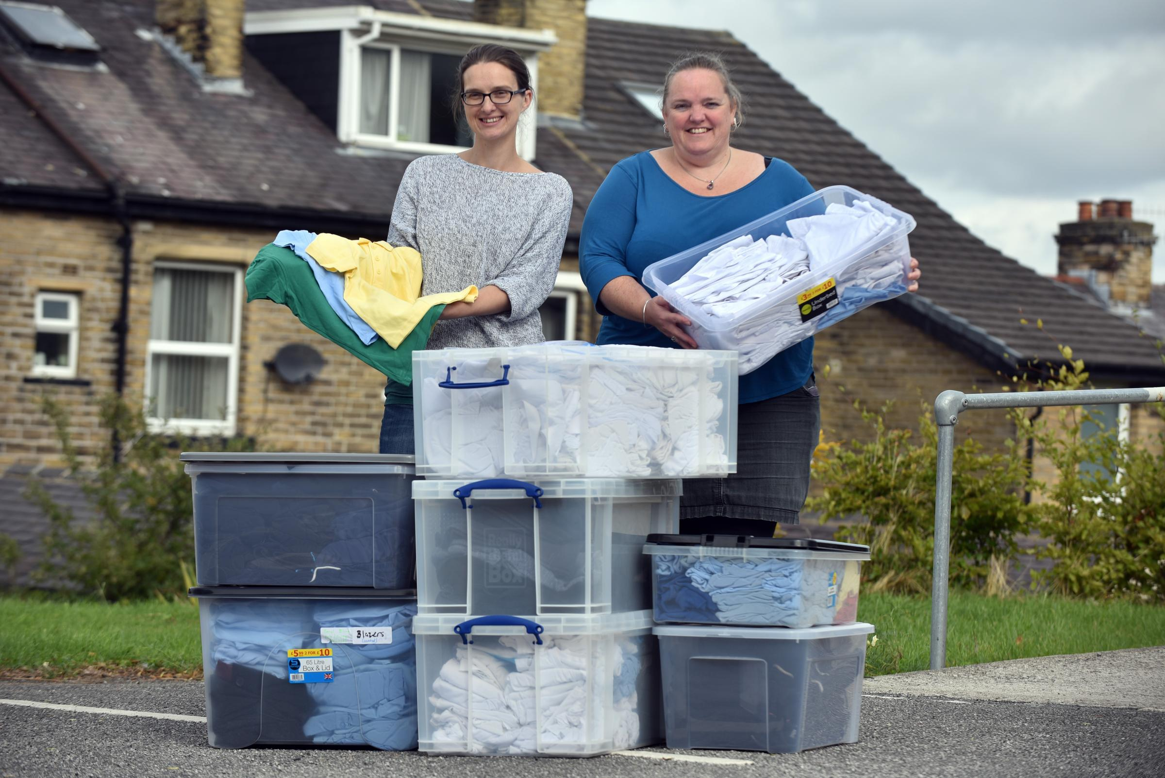 HELPING: Dawn Coleman and Emma Corbet from Shipley Area School Uniform Bank, set up to help families who may be struggling