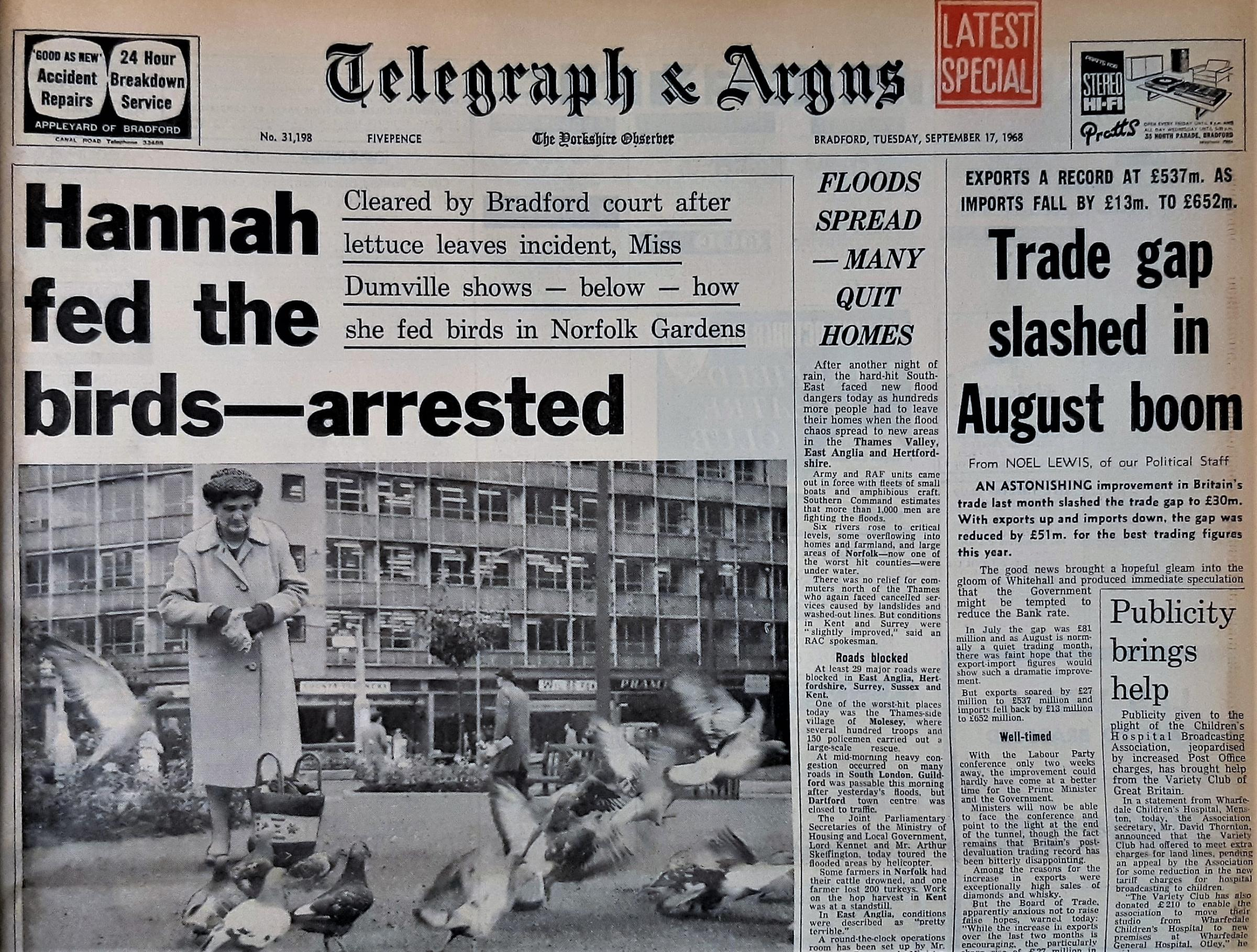 Telegraph & Argus 17th September 1968