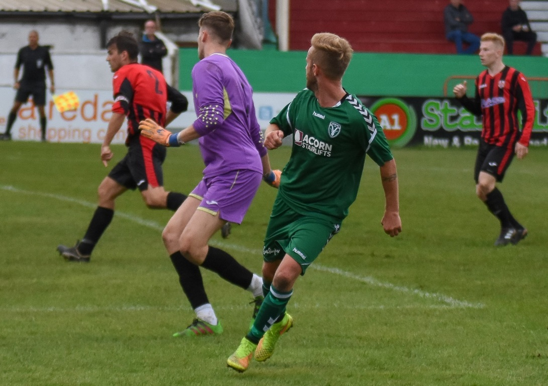 There have been 35 goals in Steeton's eight league games so far, including this one from the Chevrons' Andy Lee against Shelley, and they will be hoping to score some more this weekend Picture: Steeton AFC (Facebook)