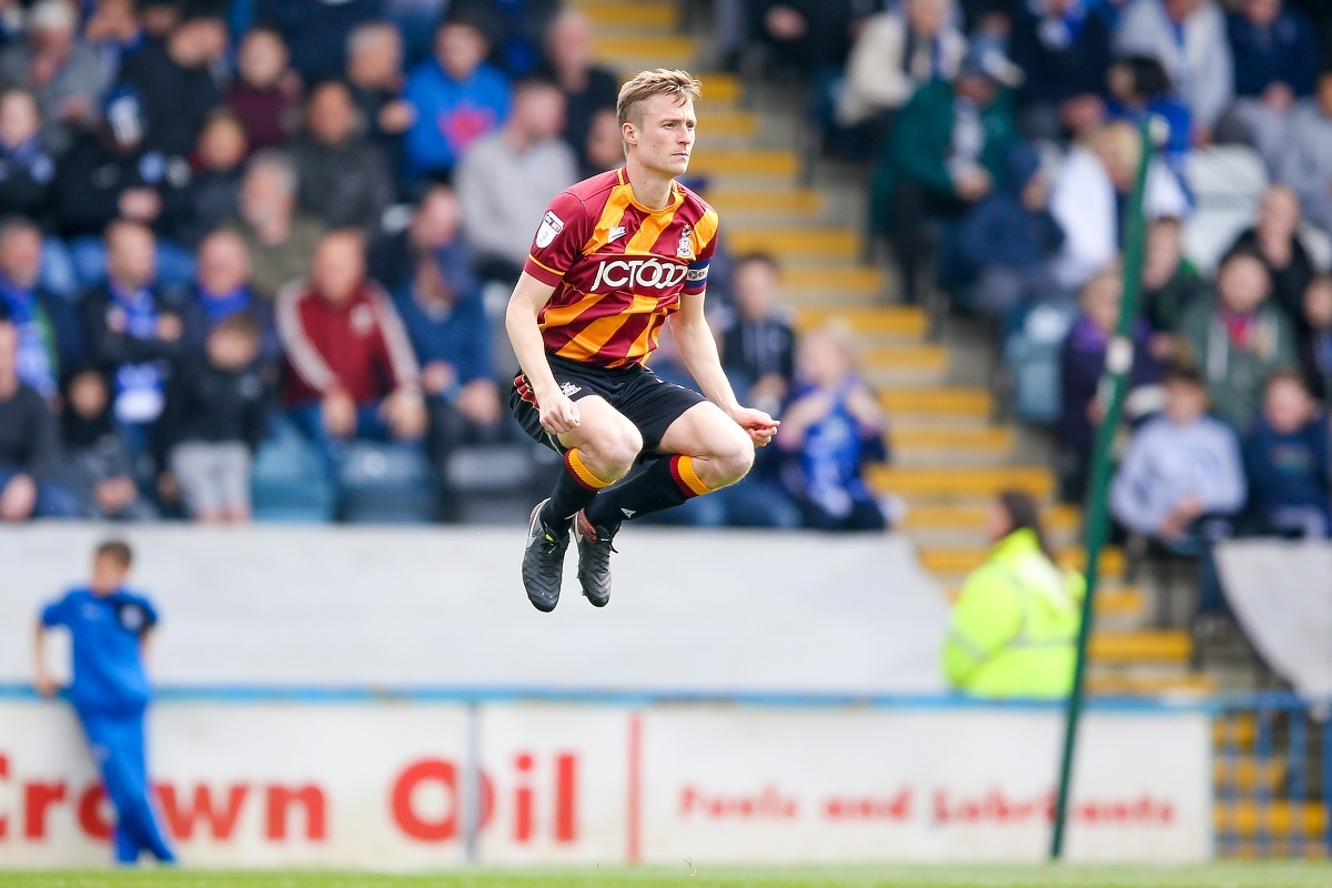 Bradford City defender Stephen Darby (2)  during the EFL Sky Bet League 1 match between Rochdale and Bradford City at The Crown Oil Arena, Rochdale, England on 30 April 2017. Photo by Simon Davies.