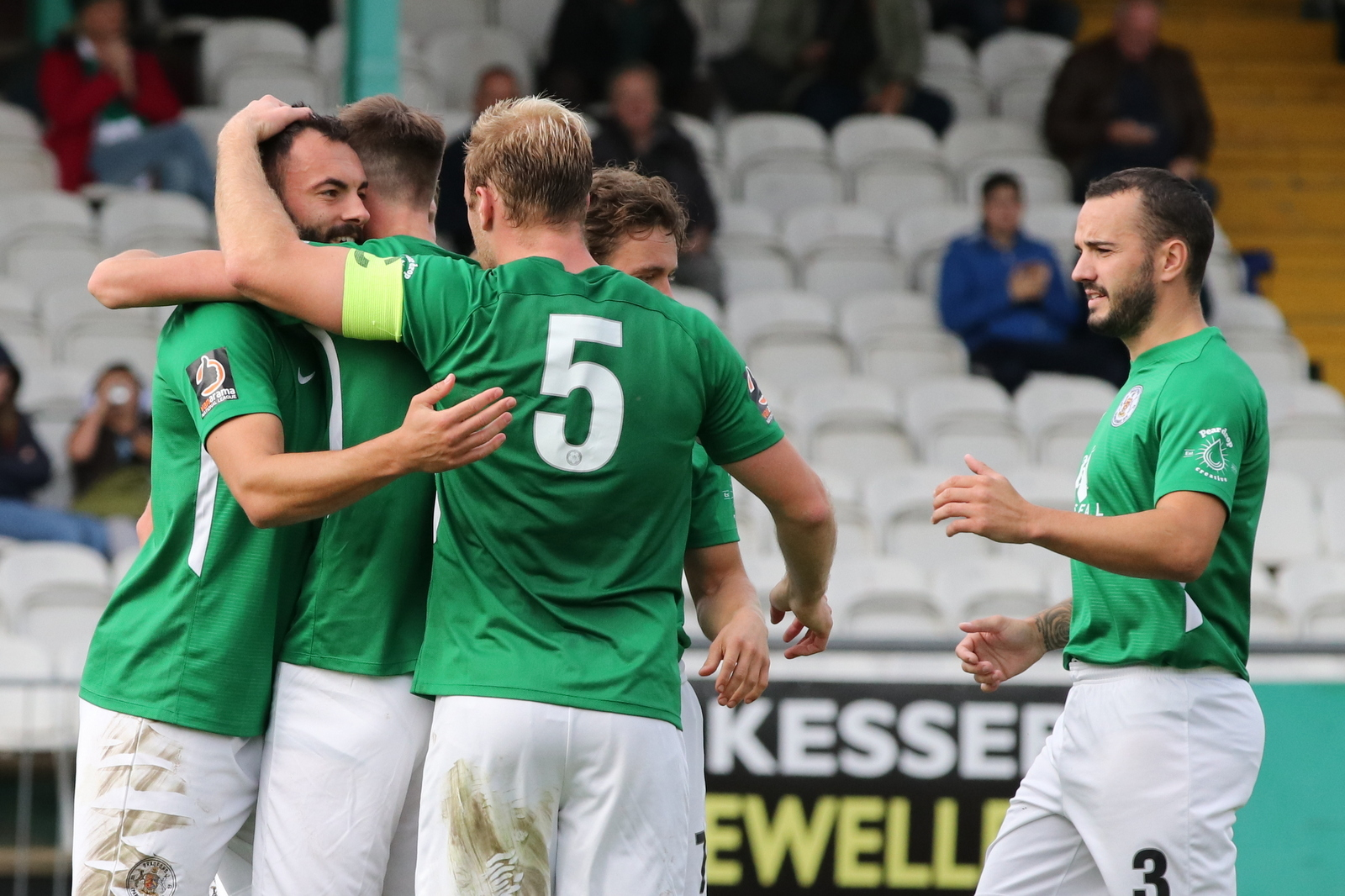 Conor Branson, left, is congratulated on his goal for Avenue in their recent 3-2 home defeat to Altrincham Picture: John Rhodes