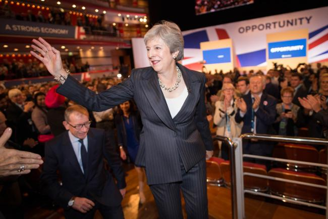 Prime Minister Theresa May and her husband Philip meet supporters after delivering her keynote speech at the Conservative Party annual conference at the International Convention Centre, Birmingham.PRESS ASSOCIATION Photo. Picture date: Wednesday October 3