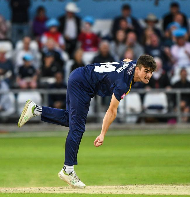 Jordan Thompson bowling for Yorkshire Picture: Ray Spencer