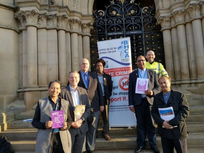 Bradford Councillor Abdul Jabar (third from right) with partners at the launch at Bradford City Hall of Hate Crime Awareness Week