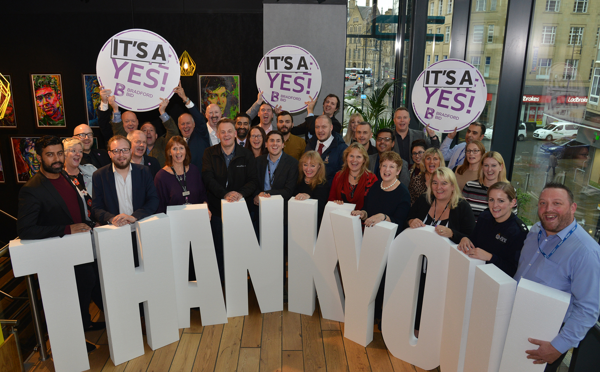 SUCCESS: Members of Bradford BID celebrating the 79 per cent yes vote
