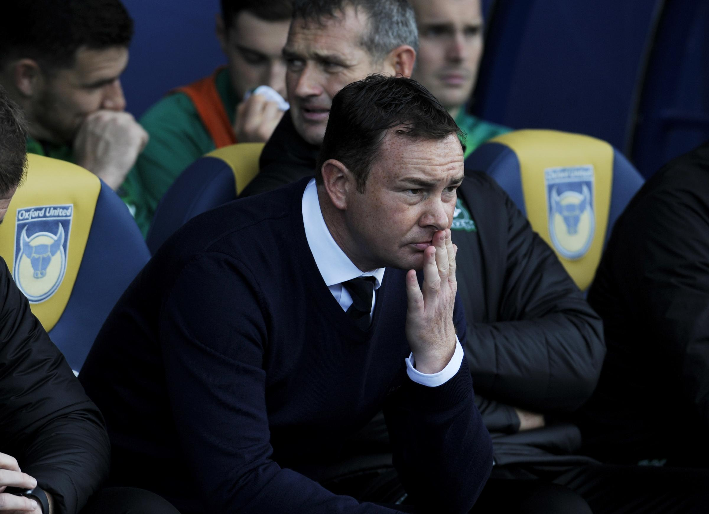 Oxford Utd V Plymouth Argyle.Plymouth boss, Derek Adams ponders the game ahead..Picture by: Copyright: David Fleming.