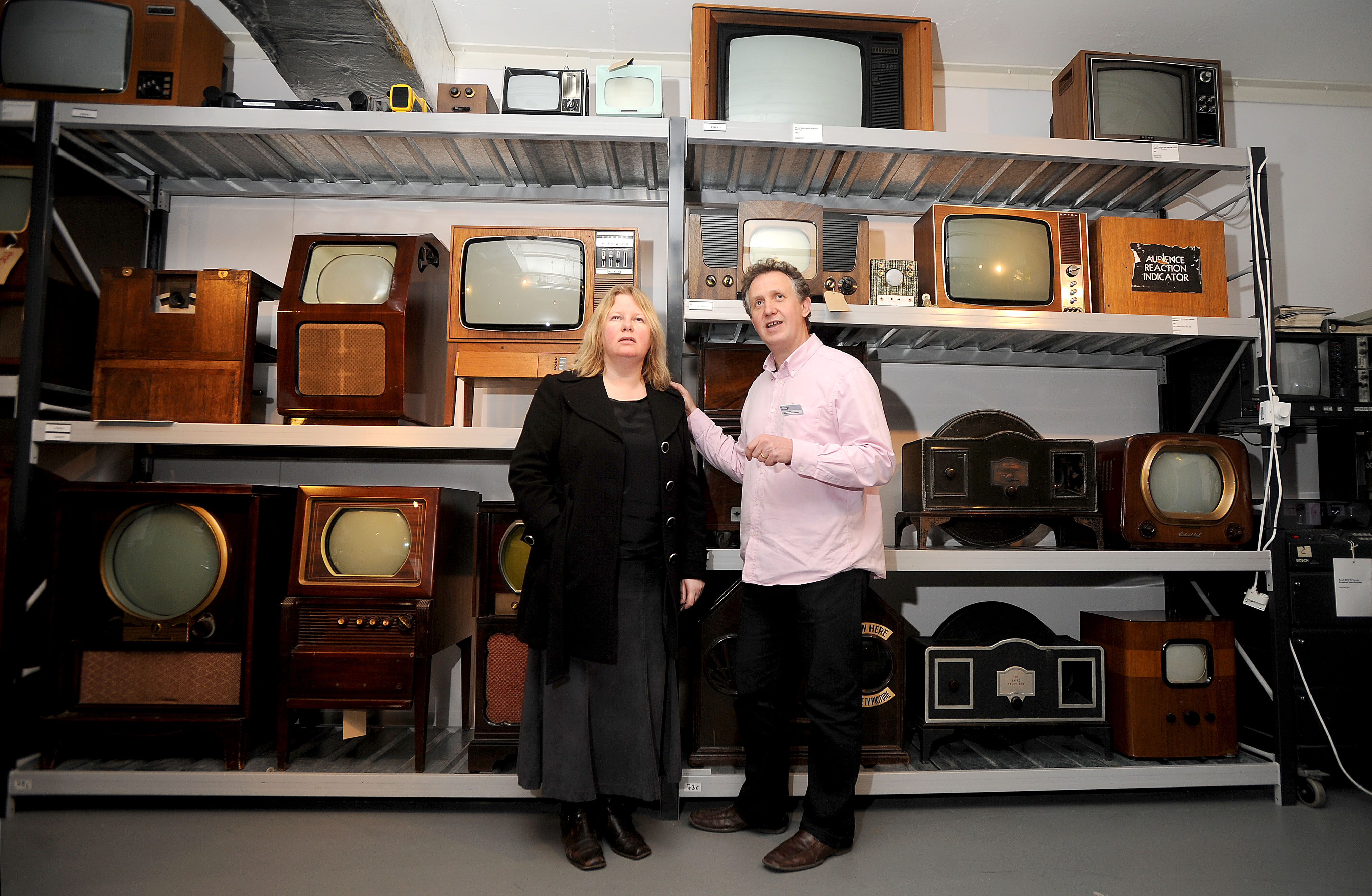 Emma is shown some of the National Media Museum's hidden treasures by curator Colin Harding