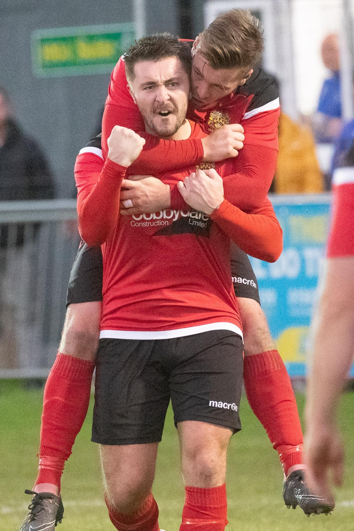 Joe Gaughan celebrates his goal with Aidan Kirby for Silsden in their 3-1 FA Vase second round win over Bedlington Terriers. Picture: David Brett
