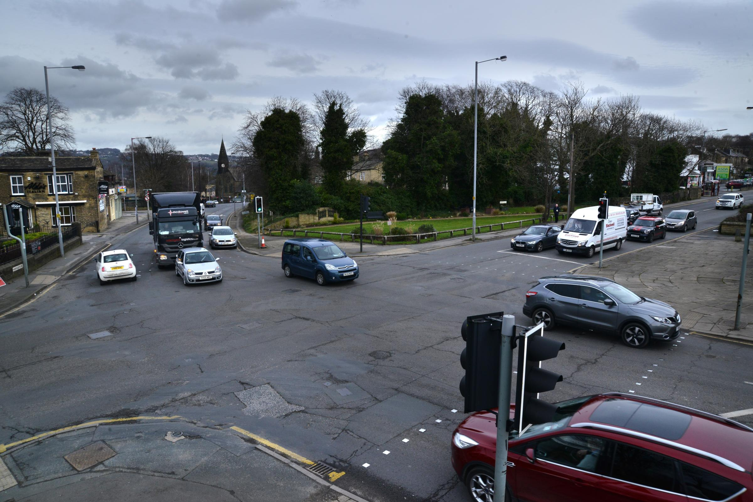 The Harrogate Road/New Line junction in Greengates
