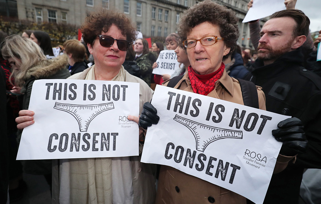 Women across Ireland protesting against the treatment of women in rape trials. Picture: Niall Carson/PA Wire