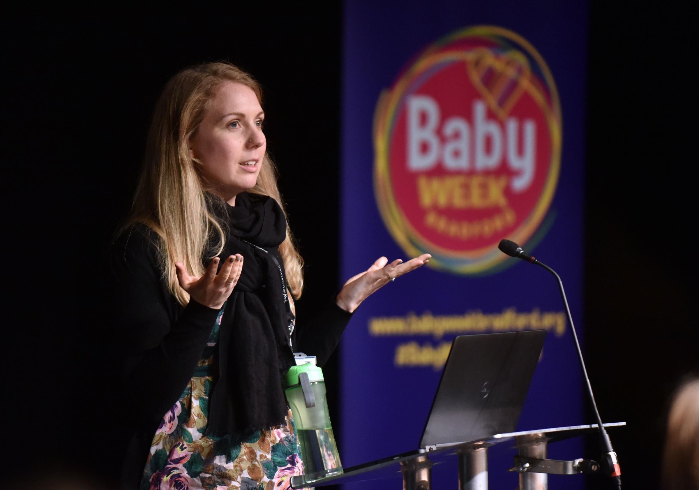 Bradford baby Week comes to and end as Dea Nielsen from Born in Bradford speaking to the auidence.
