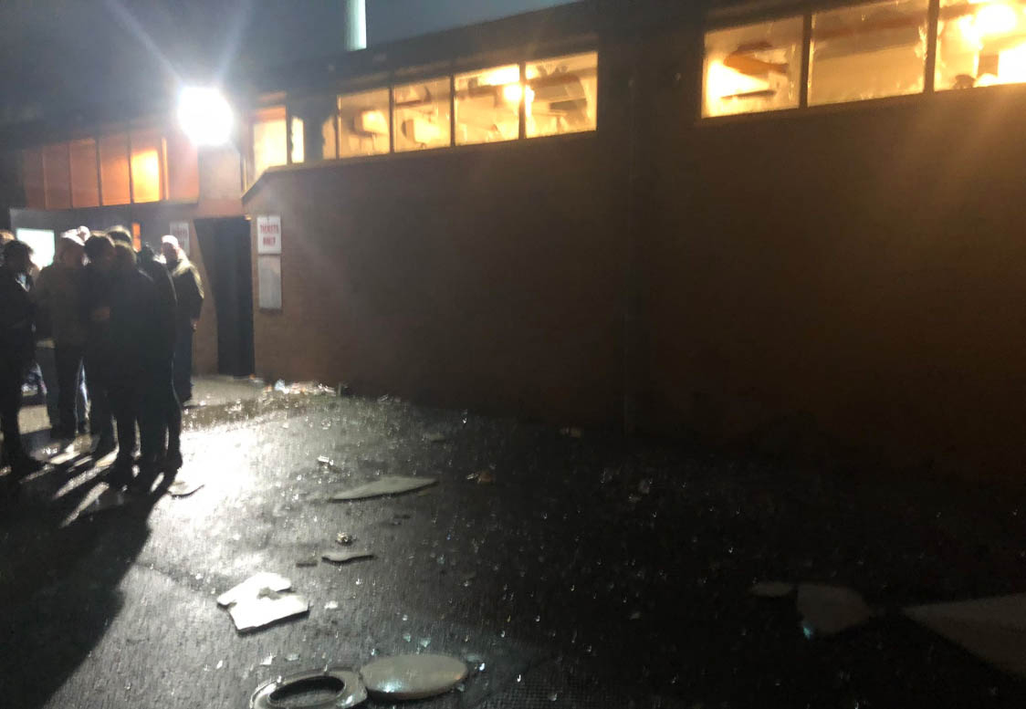 Picture taken with permission from the twitter feed of@StokieBoulton79 of broken windows at Port Vale's ground, Vale Park, following the Checkatrade Trophy match between their Staffordshire rivals Stoke City under-21s on Tuesday night. PRESS ASSOCIATI