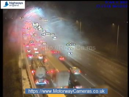Queuing traffic on the M62 after the accident