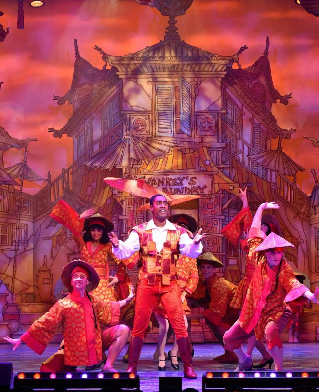 Simon Webbe performs a song and dance number in Aladdin at the Alhambra