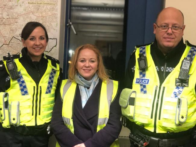 Bradford South MP Judith Cummins pictured with Inspector Shelley Slarke and Sergeant Mark Keasey