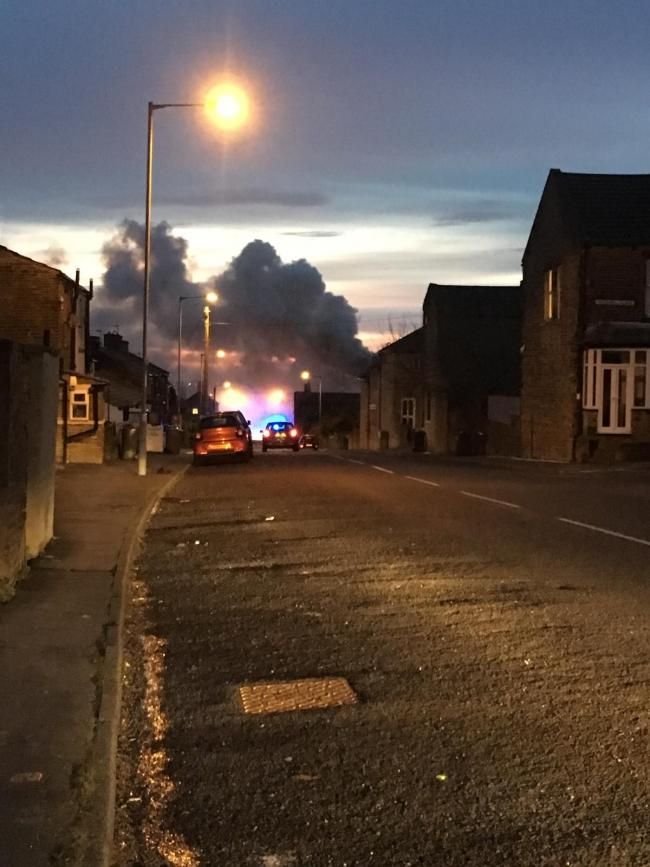 Smoke could be seen billowing from the house in Old Road
