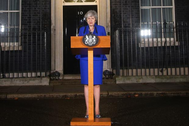 Prime Minister Theresa May speaking outside 10 Downing Street in London after MPs rejected Labour�s motion of no confidence by 325 votes to 306. PRESS ASSOCIATION Photo. Picture date: Wednesday January 16, 2019. See PA story POLITICS Brexit. Photo