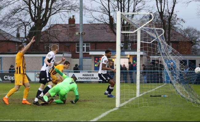 Rowna Liburd scores during Guiseley's 5-4 defeat to Boston United in Vanarama National League North on Saturday. Picture: Alex Daniel Photography