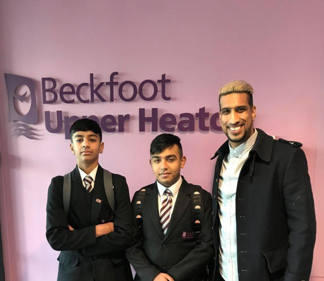 Suniel Makh (right) took a trip to Beckfoot Upper Heaton School to deliver an inspiring talk Picture: Zeus PR