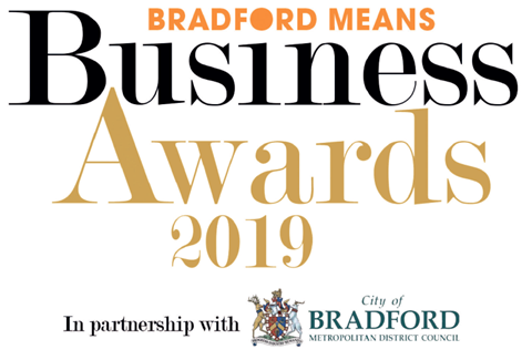 Bradford Telegraph and Argus: Bradford Means Business Awards 2019 logo. In partnership with Bradford Metropolitan District Council