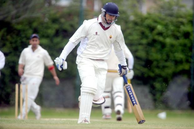 Richard Thompson scampers through for a single in Lightcliffe seconds' victory over Bankfoot
