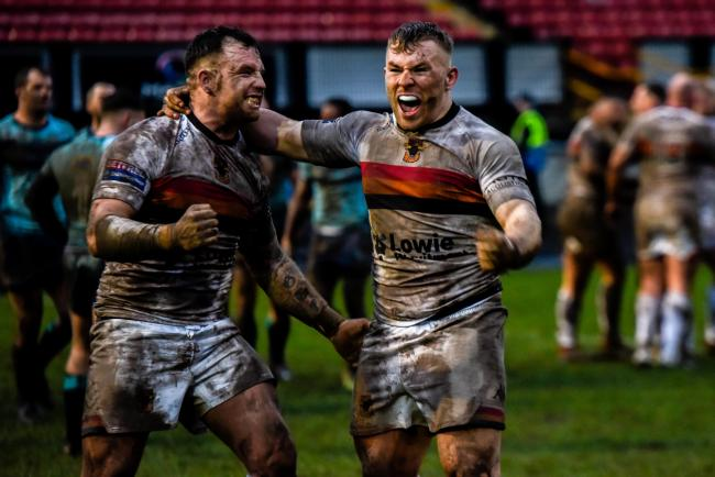 Bulls were ecstatic after picking up a thrilling 17-16 win against Featherstone on the opening day of last season, in treacherous conditions at Odsal Picture: Tom Pearson