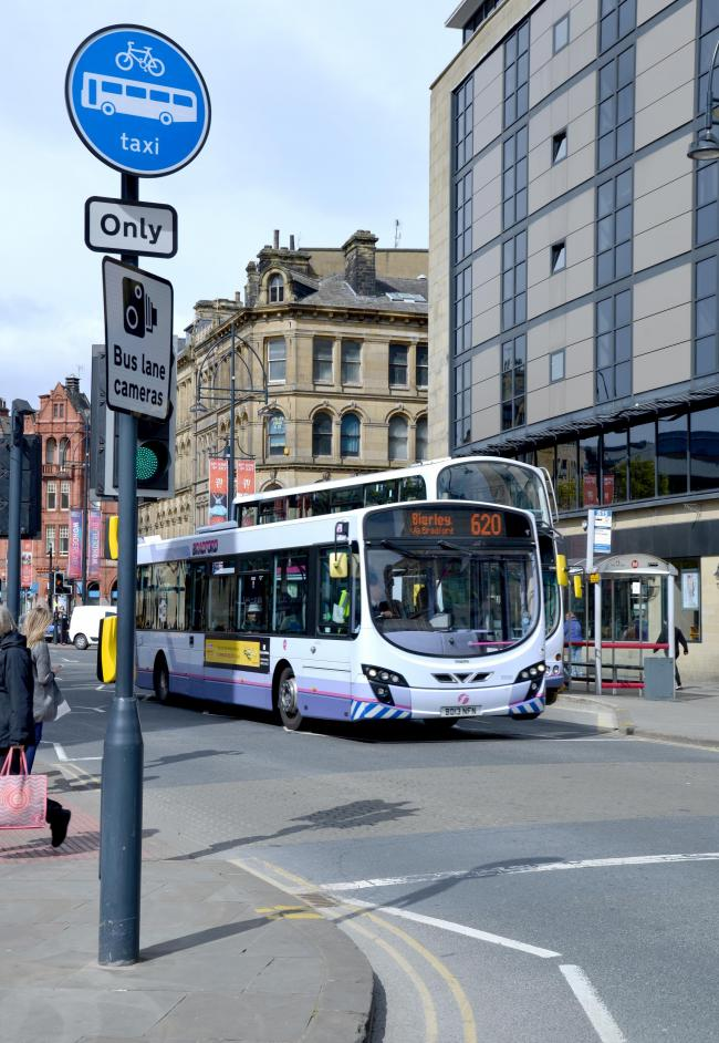 Bus lanes in Bridge Street and Broadway Bradford.