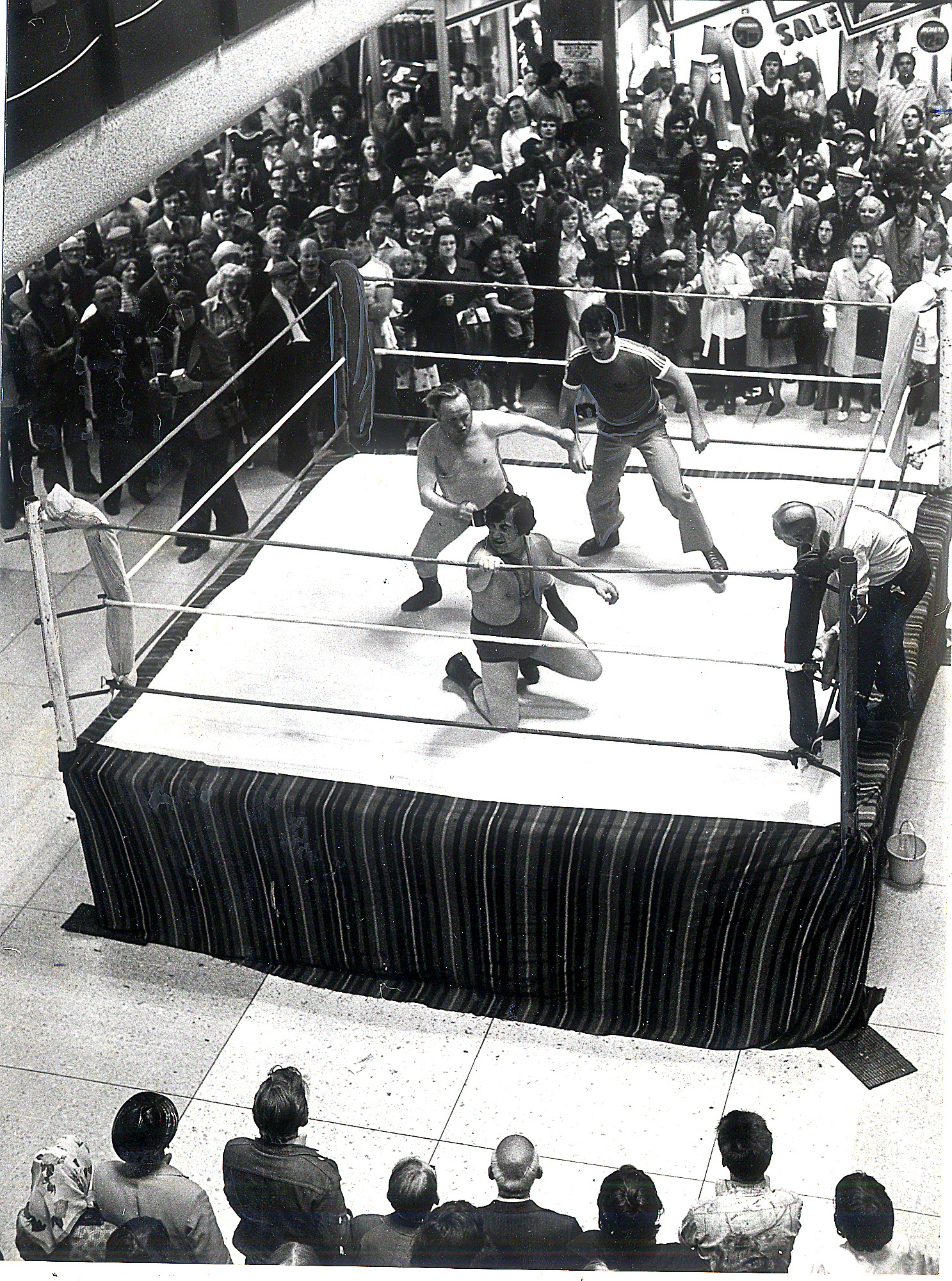 A wrestling match at Victoria Hall, Saltaire. Next month the sport returns to St George's Hall in Bradford