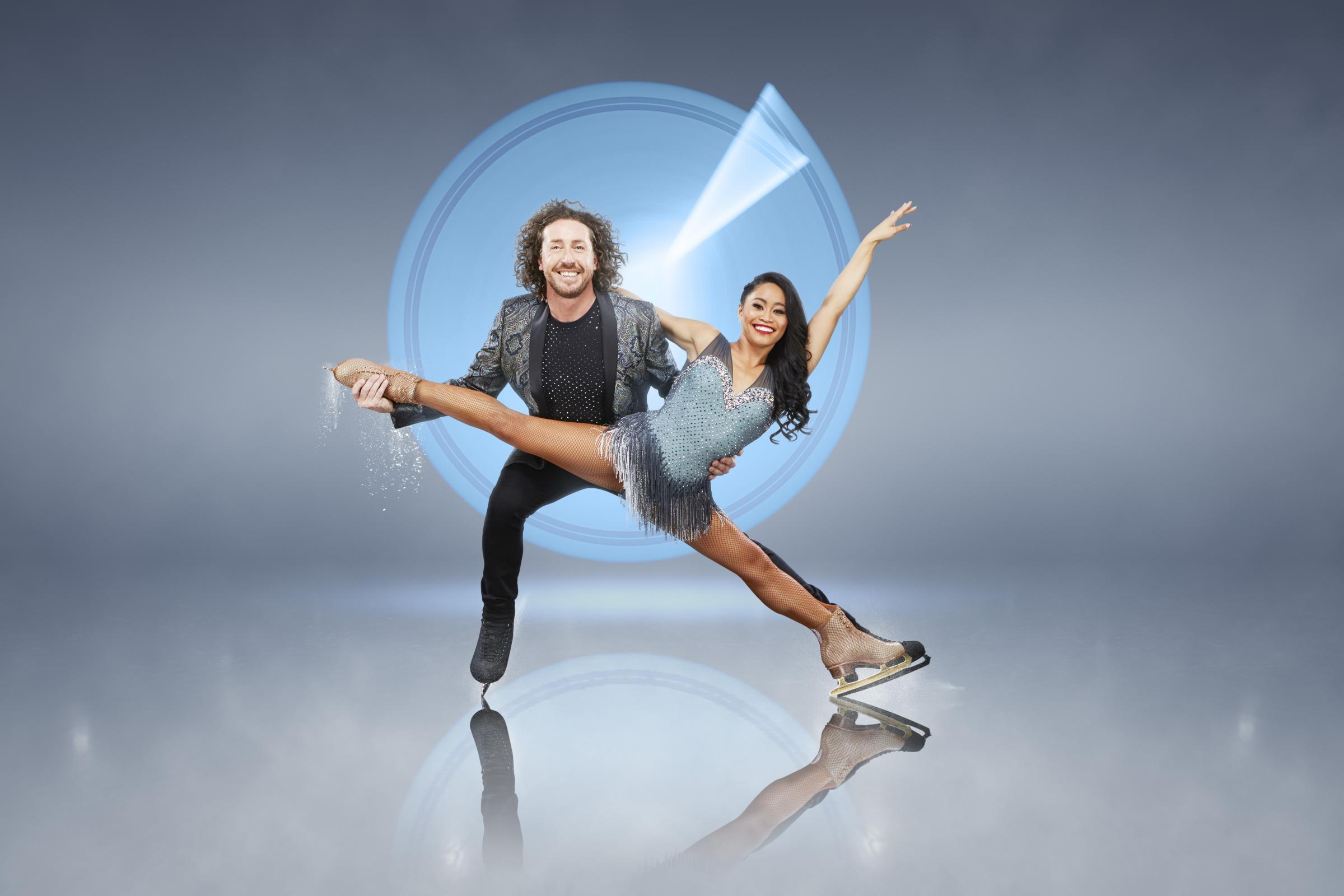 'Dancing on Ice' contestant, Ryan Sidebottom with his skating partner Brandee Malto. Photo: ITV Studios