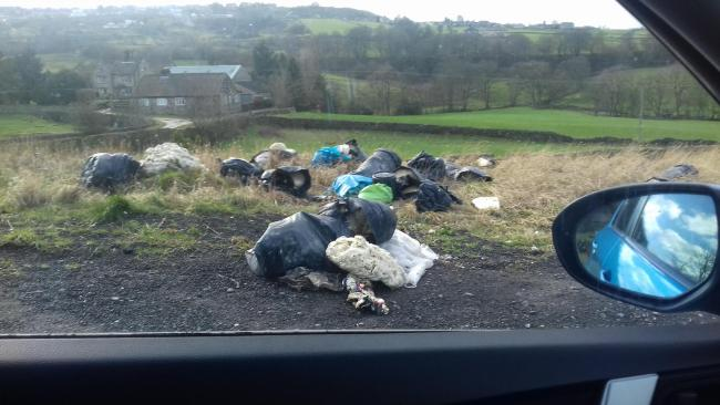 The rubbish fly-tipped on Whalley Lane