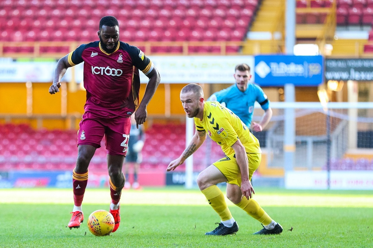 Hope Akpan on the ball in City's 1-0 defeat to Fleetwood today. Pic: Thomas Gadd