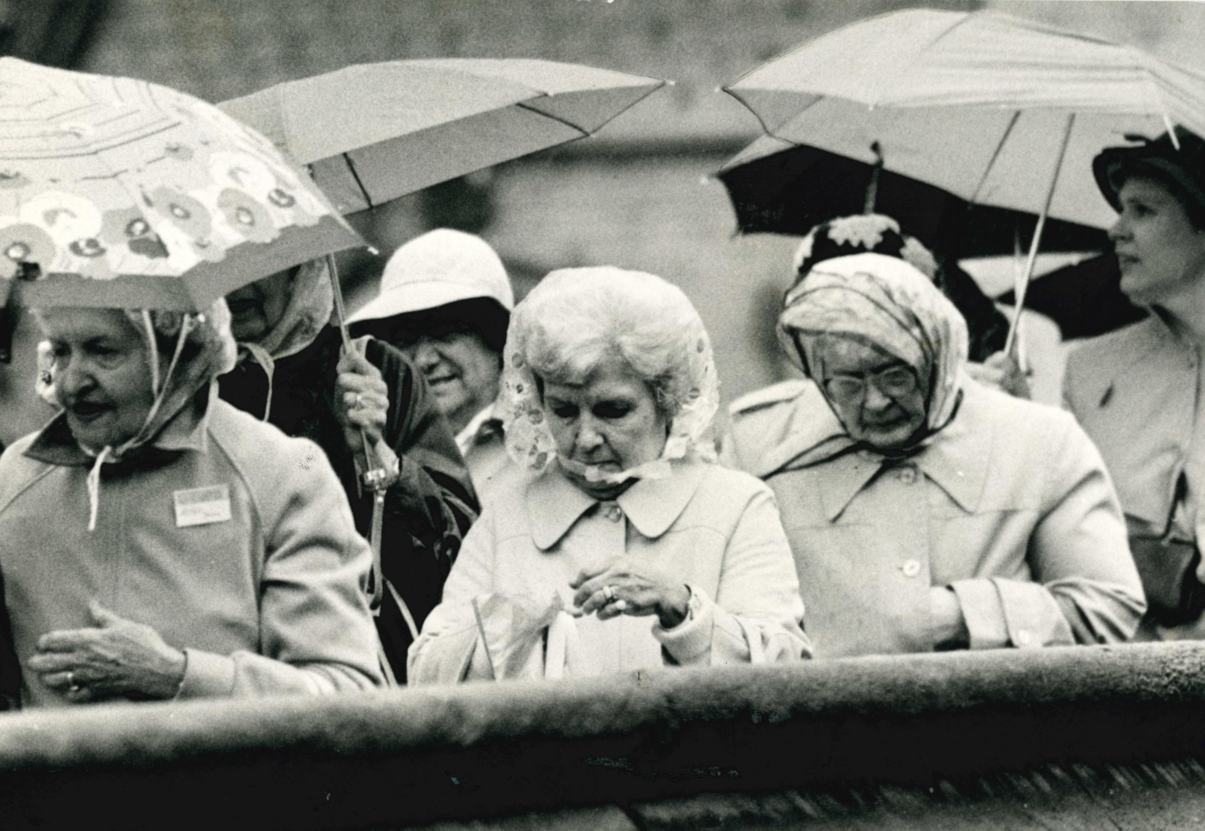 A group of Yorkshirewomen shelter from the rain