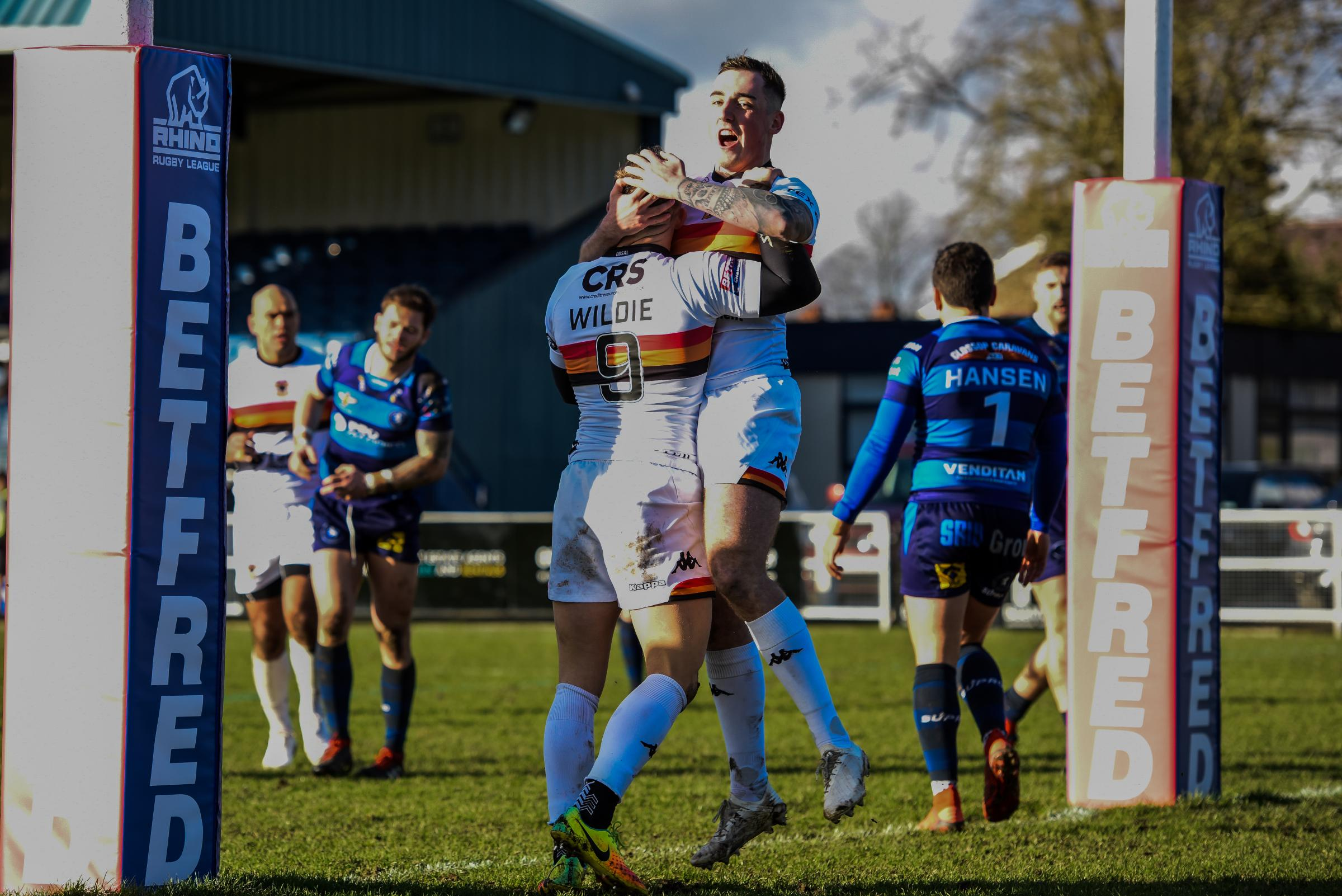Celebrations all round for Bradford Bulls at Swinton Lions. Picture: Tom Pearson
