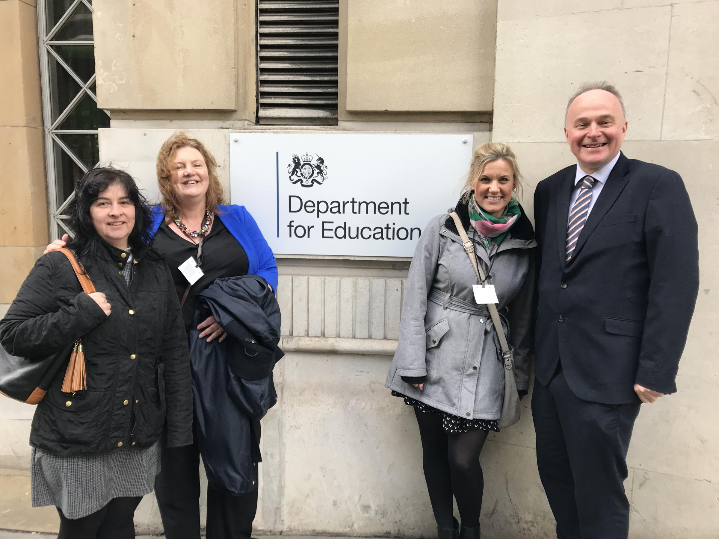 MP John Grogan outside the Department for Education with, from left, chairman of the governors Pam Freeman, executive headteacher Angela Vinnicombe and parent governor Hannah Fuller