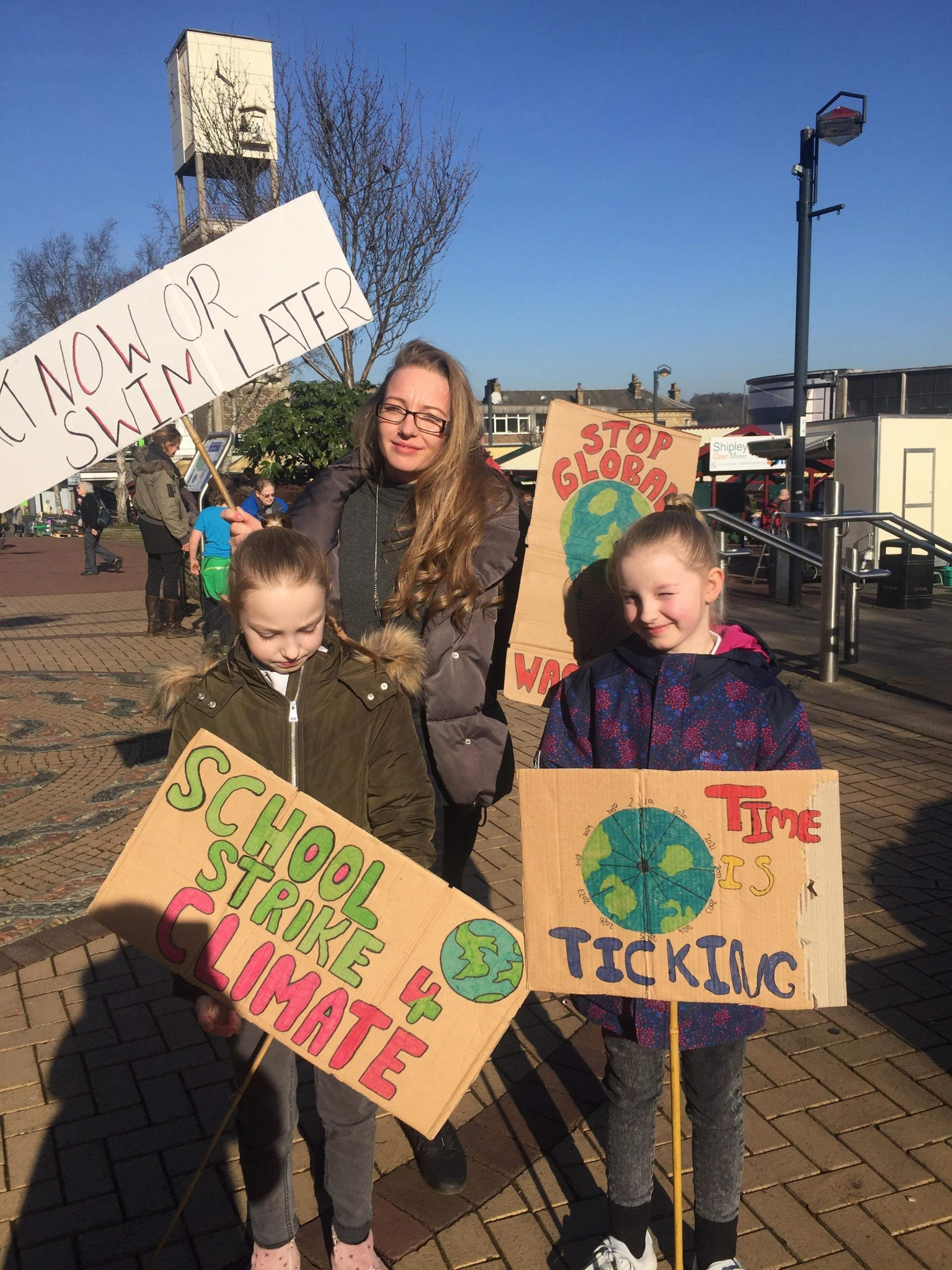 Jenna with her children supporting the Climate Strike in Shipley